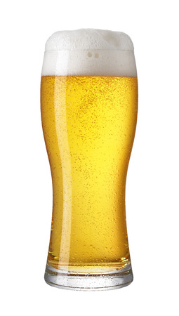 Glass of light beer isolated on a white background photo
