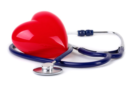 red stethoscope: Medical stethoscope and  red heart Stock Photo