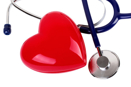 cardiologist: Medical stethoscope and red heart isolated on white Stock Photo