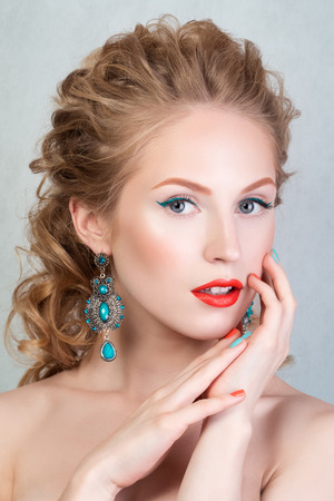 blonde haired: Beauty portrait of attractive blonde young girl with orange lips