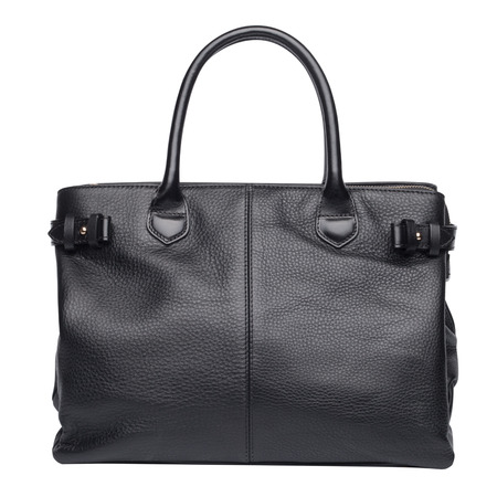 vanity bag: Black natural leather female purse isolated on white