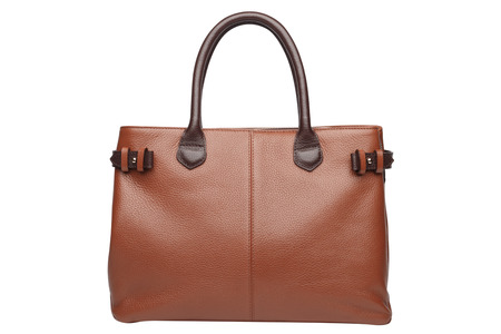 vanity bag: Terracotta natural leather female purse isolated on white