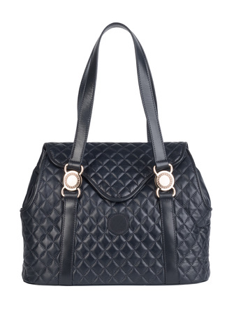 vanity bag: Dark blue natural leather female purse isolated on white