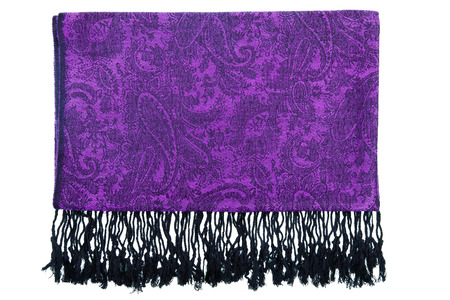 Traditional paisley pattern warm cashmere pashmina isolated on white