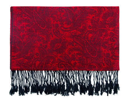 Traditional paisley pattern warm cashmere pashmina isolated on white photo