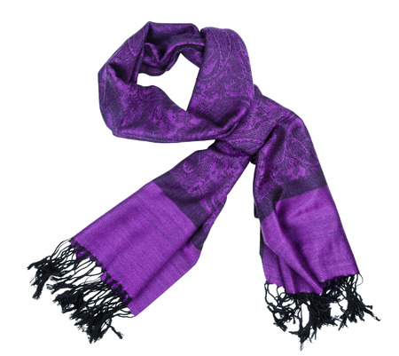 Traditional paisley pattern warm purple cashmere pashmina isolated on white photo