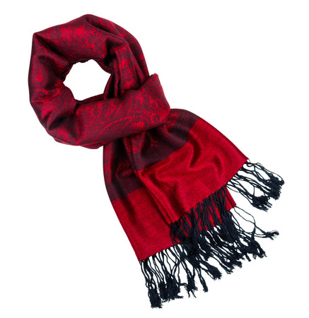 Traditional paisley pattern warm red cashmere pashmina isolated on white photo