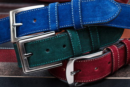 suede belt: Close-up view of three suede men belts