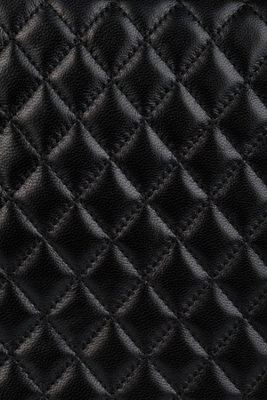 leather background: Black quilted leather background