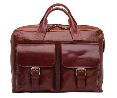 unisex: Terracotta natural leather unisex briefcase isolated on white background