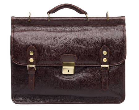 Dark brown natural leather unisex briefcase isolated on white background photo