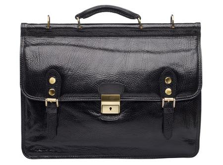 unisex: Black natural leather unisex briefcase isolated on white background Stock Photo
