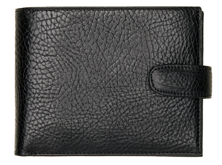 billfold: Black natural leather wallet isolated on white background. Expensive mans purse closeup