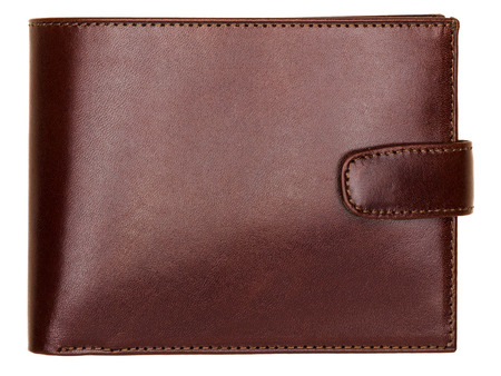 Terracotta natural leather wallet isolated on white background. Expensive mans purse closeup Stock Photo