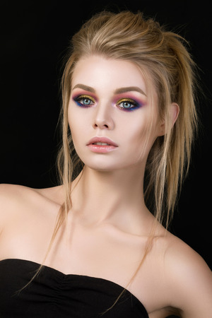 magnificent: Portrait of beautiful blonde woman with fashion make-up Stock Photo