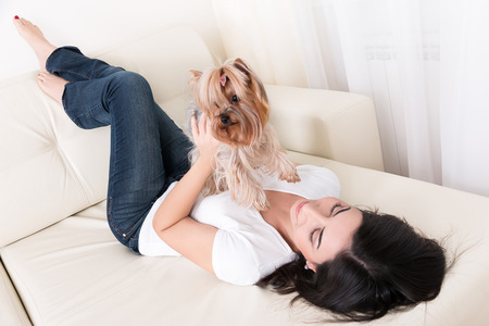 Beautiful young brunette girl playing with her yorkshire terrier at home laying down at sofa and holding her pet