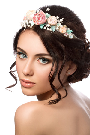coiffure: Portrait of young beautiful bride. Wedding coiffure and make-up. Stock Photo
