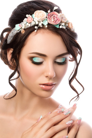 beauty make up: Portrait of young beautiful bride. Wedding coiffure and make-up. Stock Photo