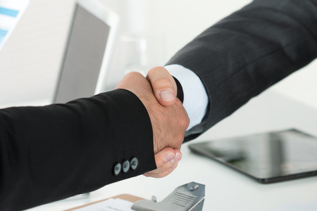 business relationship: Business handshake. Two businessman shaking hands with each other in the office.