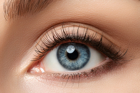 Close up view of beautiful blue female eye. Good vision, contact lenses, trust or observation concept Standard-Bild