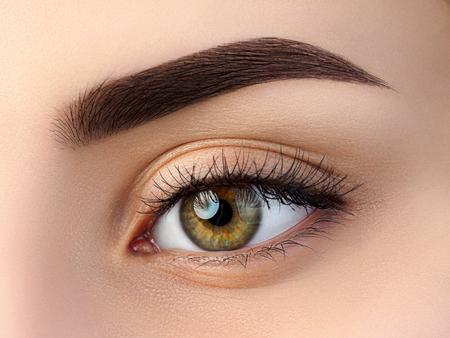 美しい茶色の女性の目のビューを閉じます。完璧なトレンディな眉。良好な視力、コンタクト レンズ、ネイルバー、ファッション眉メイク コンセプ