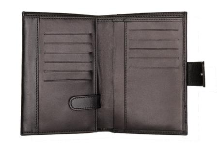 Empty opened black wallet isolated on white background. Studio shot