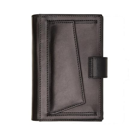 Closed black wallet isolated on white background. Studio shot Stockfoto