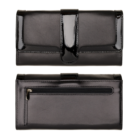 Womens black wallet isolated on white background. Studio shot. Two sides Stockfoto