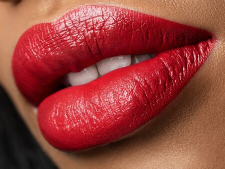 Close up view of beautiful woman lips Stockfoto