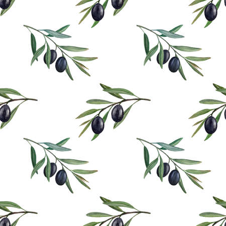 Black olives watercolor seamless pattern