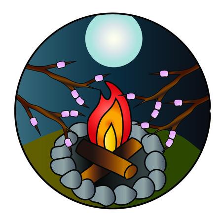 Marshmellows roasting on campfire
