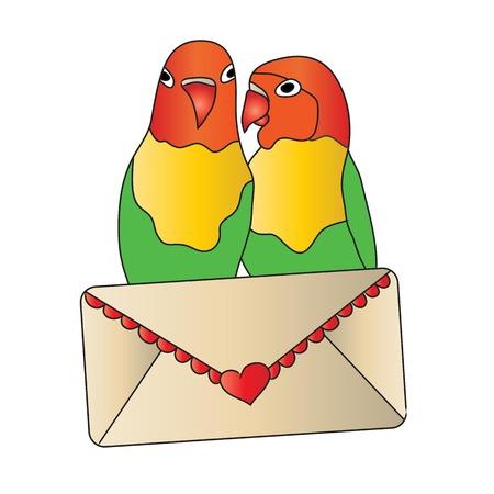 carta de amor: Los pájaros del amor con la carta de amor Foto de archivo