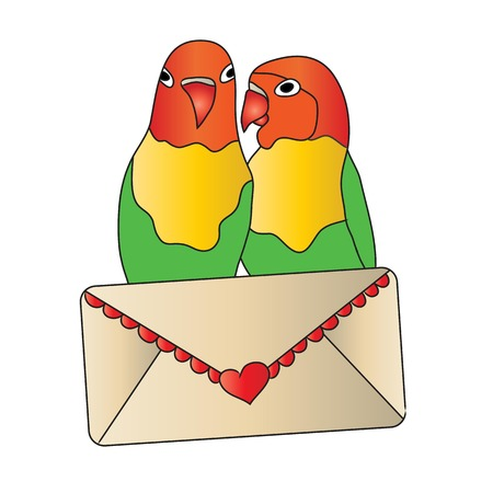 love letter: Love Birds with Love Letter Stock Photo