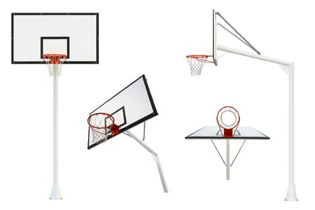 Basketball goal isolated from different views Stock Photo