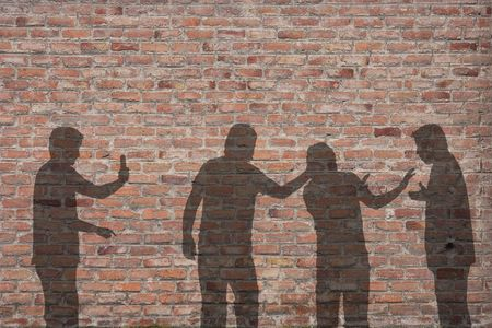 harassing: Bullying scene shadow on the wall