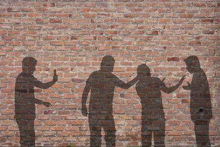 Bullying scene shadow on the wall