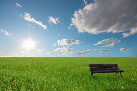 Lonely bench in a quiet place Stock Photo