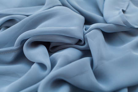 Color blue textil, silk fabric with pleats