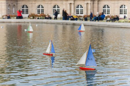 Boats Parc Luxembourg in Paris at warm december 2018