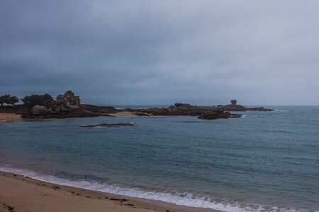 Perros Guirec, Ploumanac'h Lighthouse, Mean Ruz Lighthouse, la Manche,at winter, rocks and waves