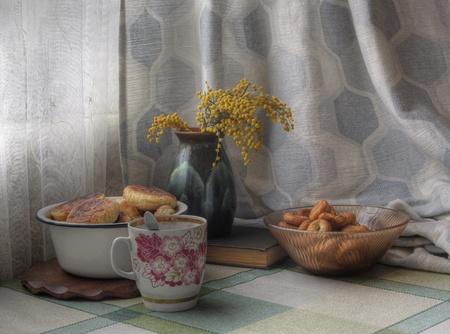 baranka: vintage still life with cheese cake and mimosa
