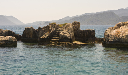 remains of the ancient ruins in the sea