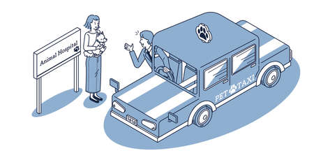 Pet taxi picked up at animal hospital Vector Illustration