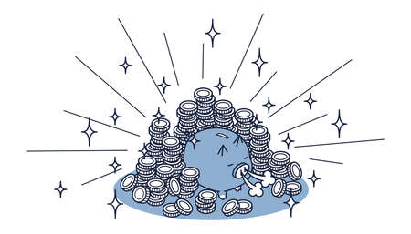 Isome illustration of pig piggy bank and large amount of coins