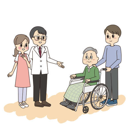 Senior man and family introduced to staff by hospital officials Vektoros illusztráció