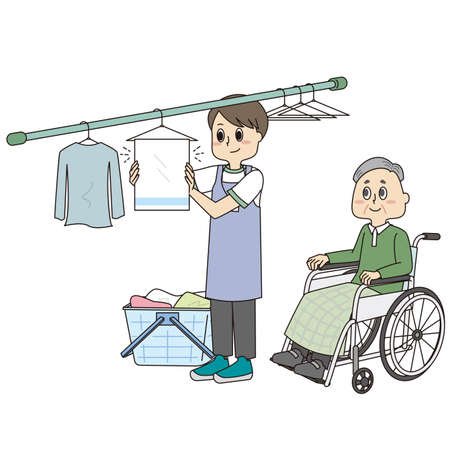 Male helper drying clothes and senior man in wheelchair Vecteurs