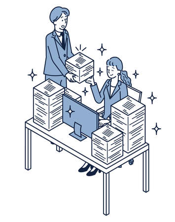 It is an isometric illustration of a woman who finishes a lot of work and a man who brings a lot of work. Ilustración de vector
