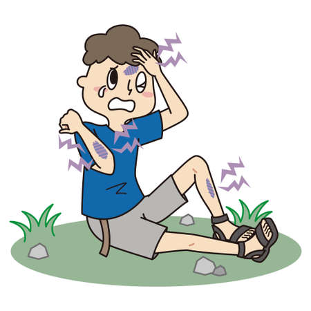 It is an illustration of a boy who fell down at the campsite where he came to play and was bruised.
