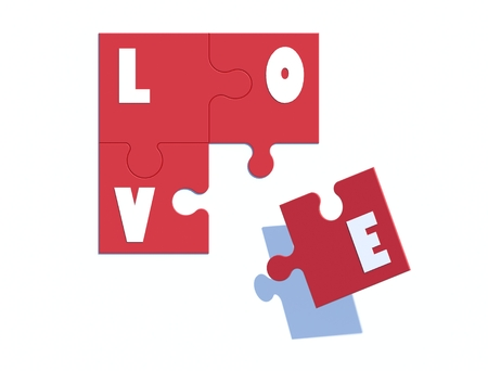 love image: 3d image Love jigsaw.on top view.
