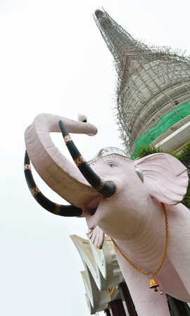 consecrated: Temple Building and Elephant.A construction of temple building